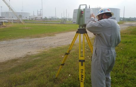 man surveying project